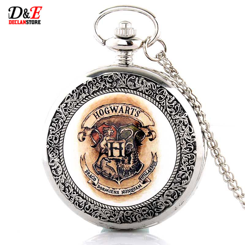 Hogwarts School Badge Harry Potter Pocket Watch Quartz Watch Men with Necklace Chain P383