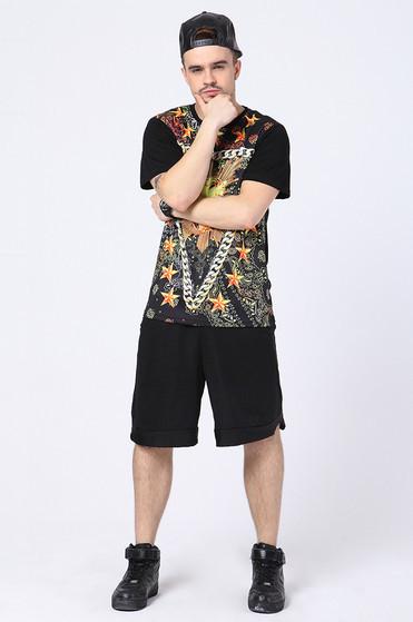 2015 stars western leading fashion leisure men's high quality hot stamping large fertilizer short hip-hop dance tee(China (Mainland))