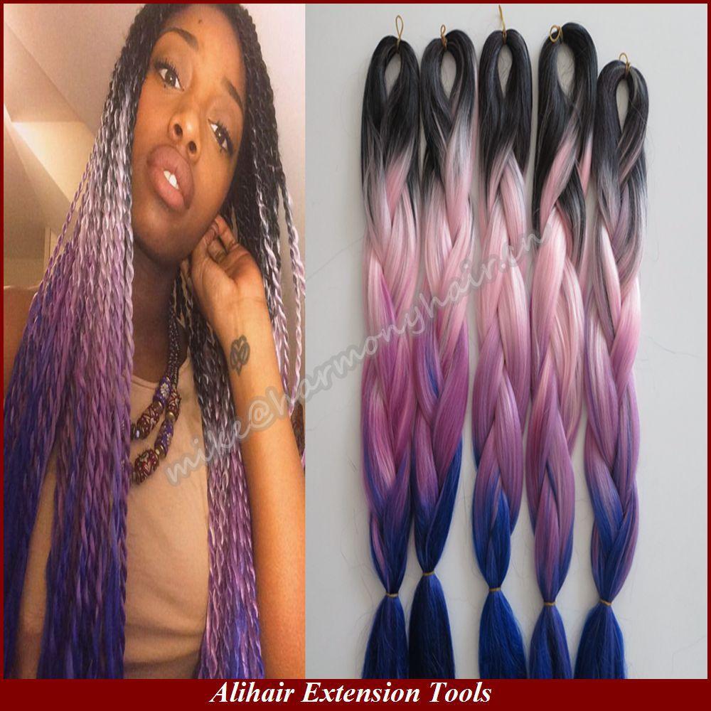 4Packs 20 100g Ombre Black Pink Purple Darkblue Kanekalon Jumbo Braiding Synthetic Hair for Dreadlocks Crochet Box Braids Twist<br><br>Aliexpress