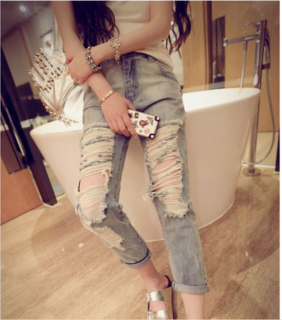 Женские джинсы Ripped jeans 2015 Bf #1302 boyfriend jeans for women chic women s ripped skinny jeans