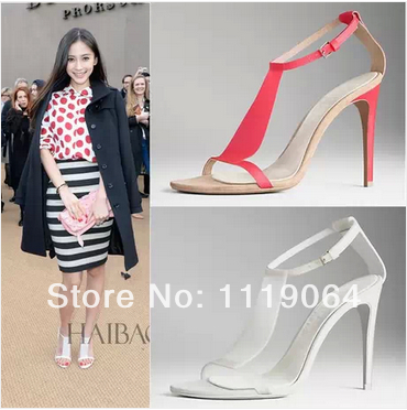 Fashion High Heeled Ankle Strap Sandals 2014 New Arrival Angelababy Prorsum Vinyl and suede Sandals Stiletto Sandals Women Shoes