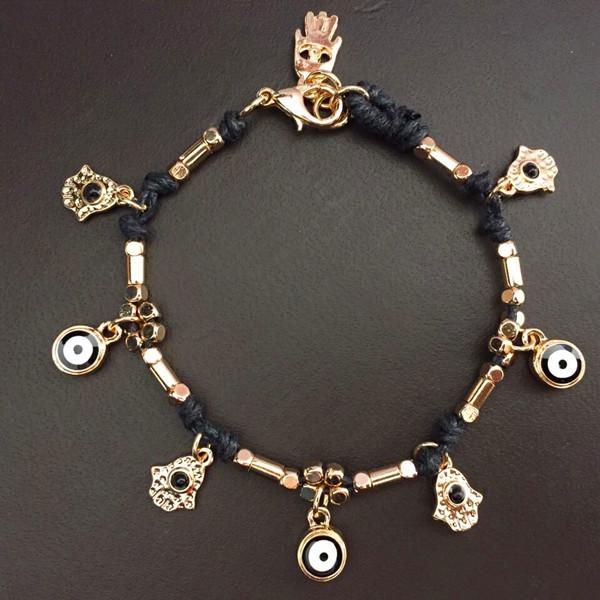Handmade Hamsa hand and evil eye apotropaic amulate charm bracelets hand of Fatima bracelets choice of 4 colors FREE Shipping(China (Mainland))