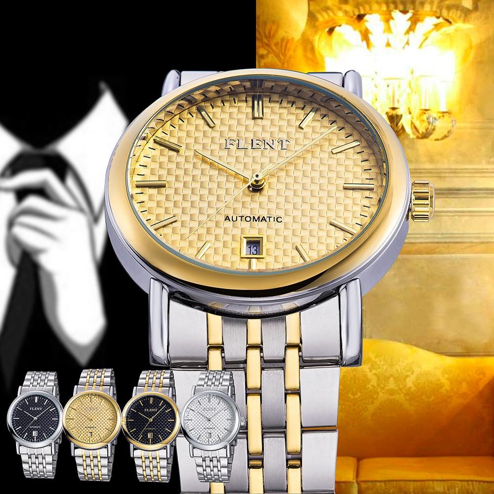 Парни Top Luxury Brand Полная Сталь Ремешок Бизнес Автоматические self-wind механические Авто Relogios Платье Классический Повседневная Мода Часы