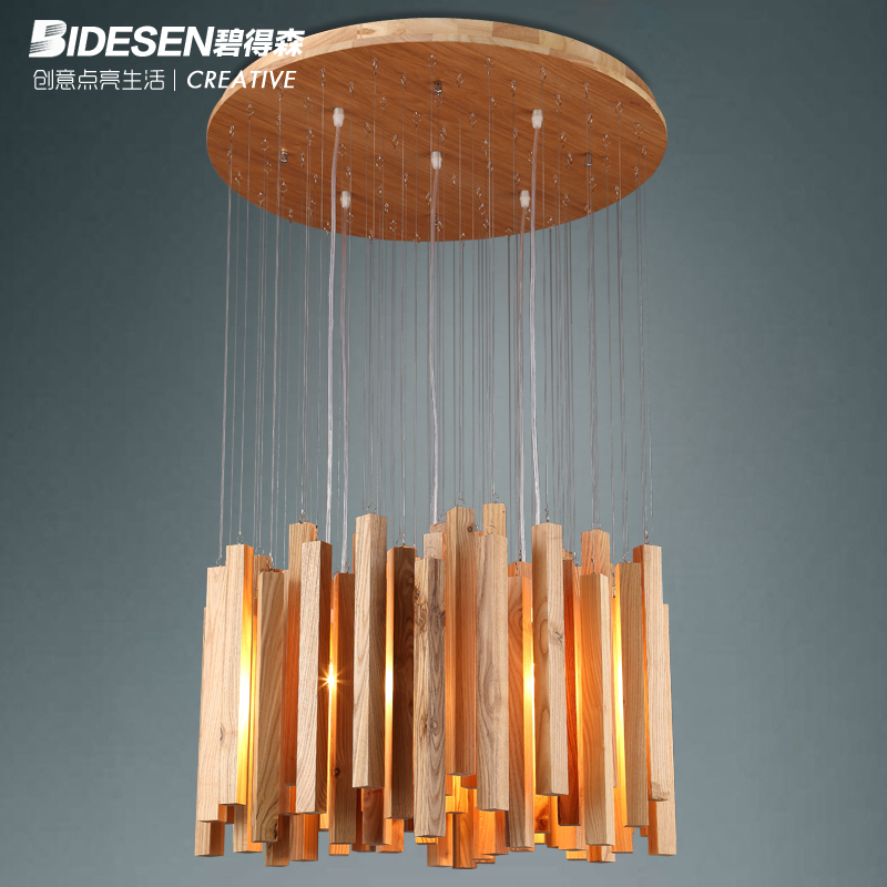 Bi Hudson designer creative arts minimalist living room lamps personalized restaurant wooden lamp wood icicle chandeliers(China (Mainland))