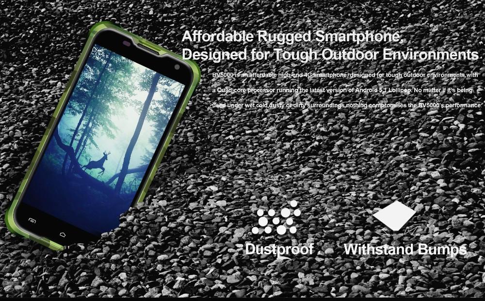 Original Blackview BV5000 FDD 4G LTE IP67 Waterproof Cell Phone MTK6735 5.0″ Quad Core Android 5.1 2GB RAM 16GB ROM 8.0MP Stock