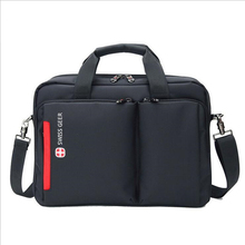 Quality Swiss briefcase portable laptop bag carrying nylon light weight man woman school college black classic large waterproof(China (Mainland))