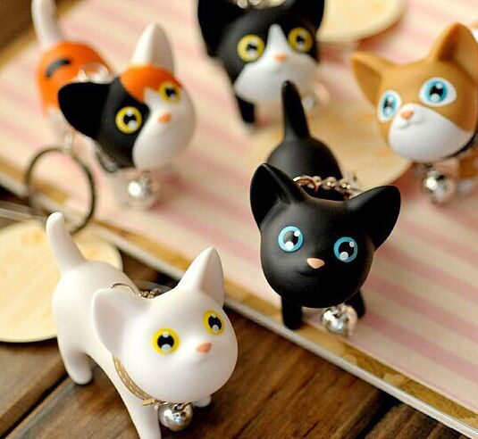 Kawaii Random BELL Kitty & CAT 6*5CM Pendant DOLL Key Chain Hook TOY ; Key Ring Holder DOLL TOY Keychain Holder Hook Clip DOLL(China (Mainland))