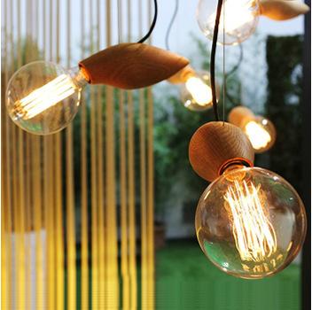 RH Loft personality artistic originality bar/restaurant/ cafe/bulb shaped glass solid wood pendant lamp(China (Mainland))