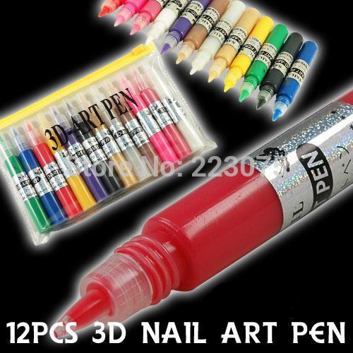 Hot 12 COLORS 3D NAIL ART PEN DRAWING DESIGN BRUSH POLISH Fine Tip Pen Design DIY Paint(China (Mainland))