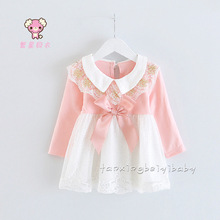 2015 New baby infant 100% cotton bowknot lace collar dress Newborn toddler cotton dress  6-24 Mo(China (Mainland))