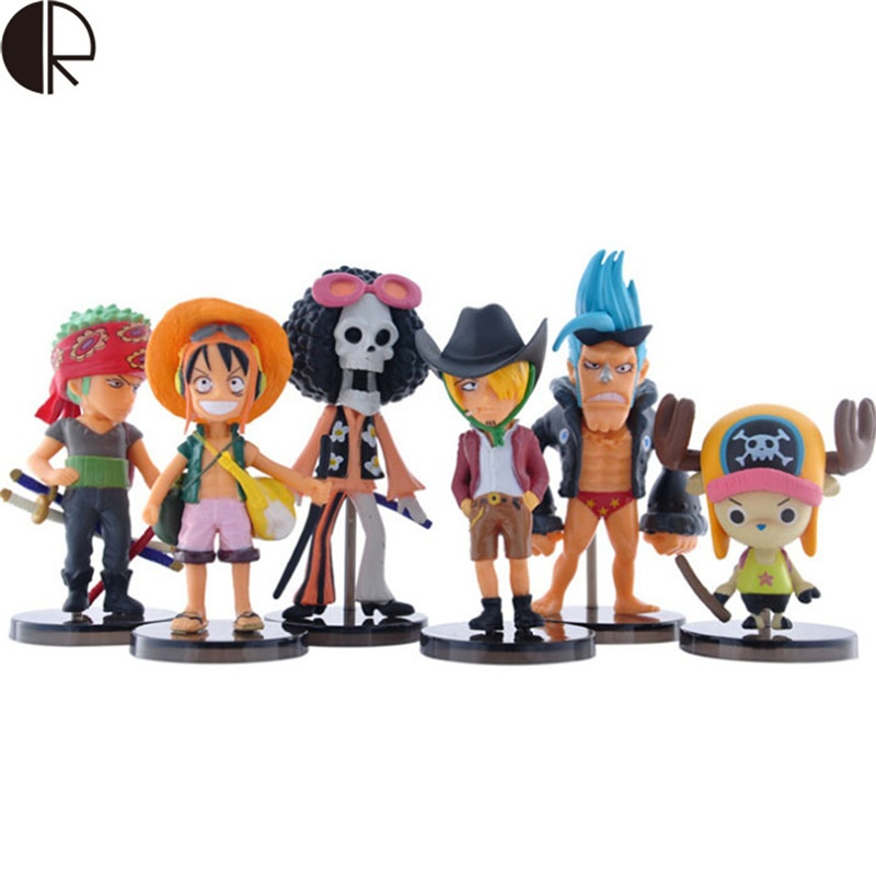 Hot Sale 6 Pieces Children's Toys One Piece Q Statue Doll Car Decoration Toy Action Figures Anime Model Luffy Chopper Baby Toy(China (Mainland))