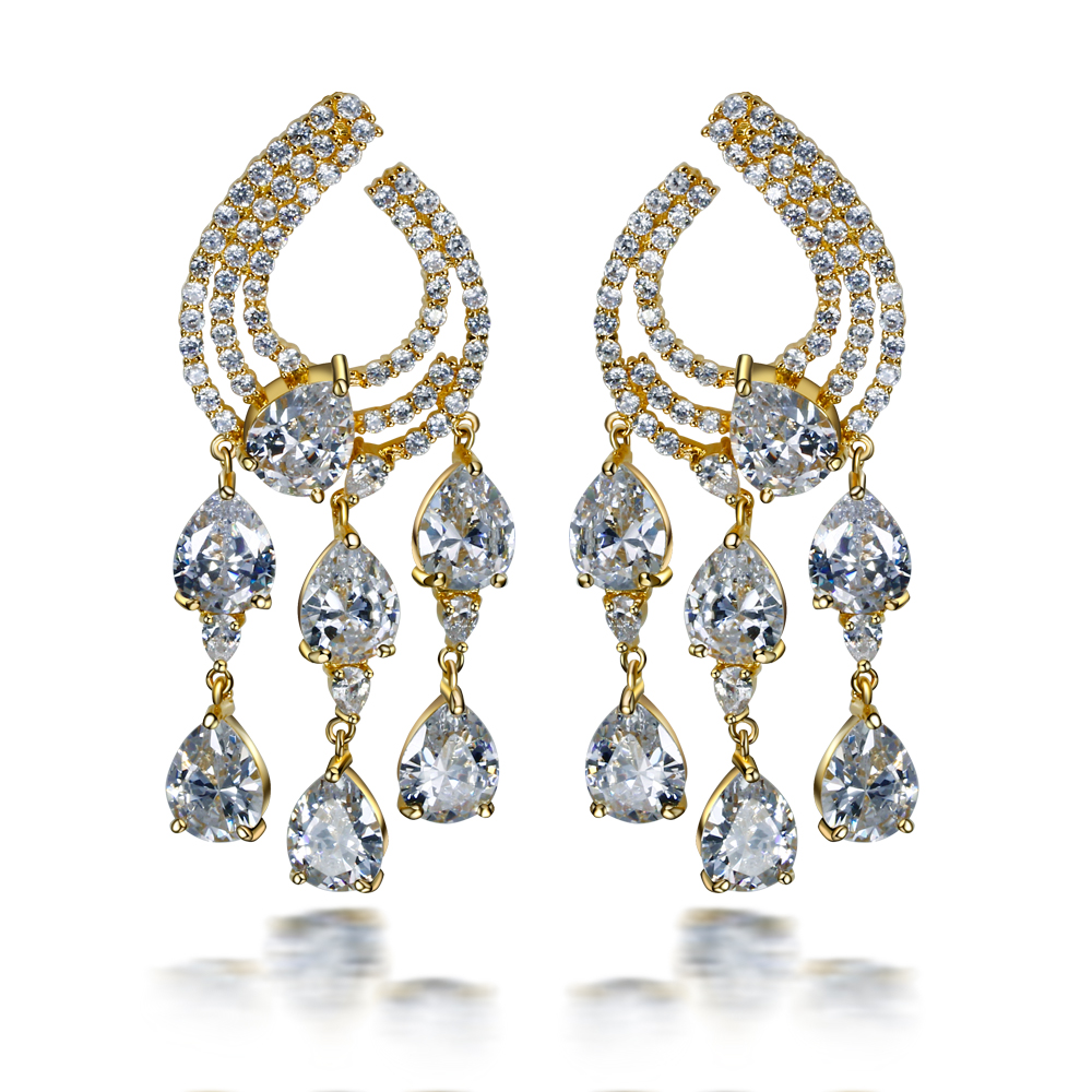 Dangling long earrings for party large earrings setting with 3A cubic zirconia platnium and gold plated earrings 2016 new<br><br>Aliexpress