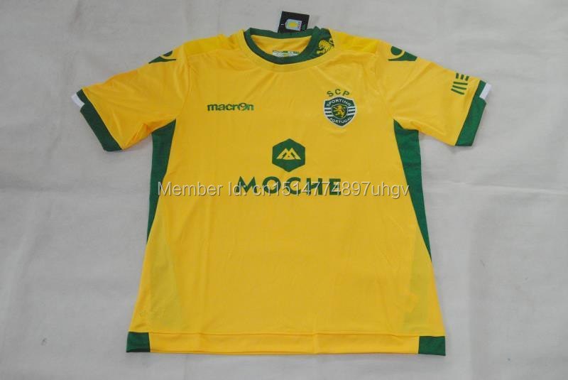 15-16 new Portuguese Sporting Lisbon home court yellow Thai version of football clothes sporting jerseys(China (Mainland))