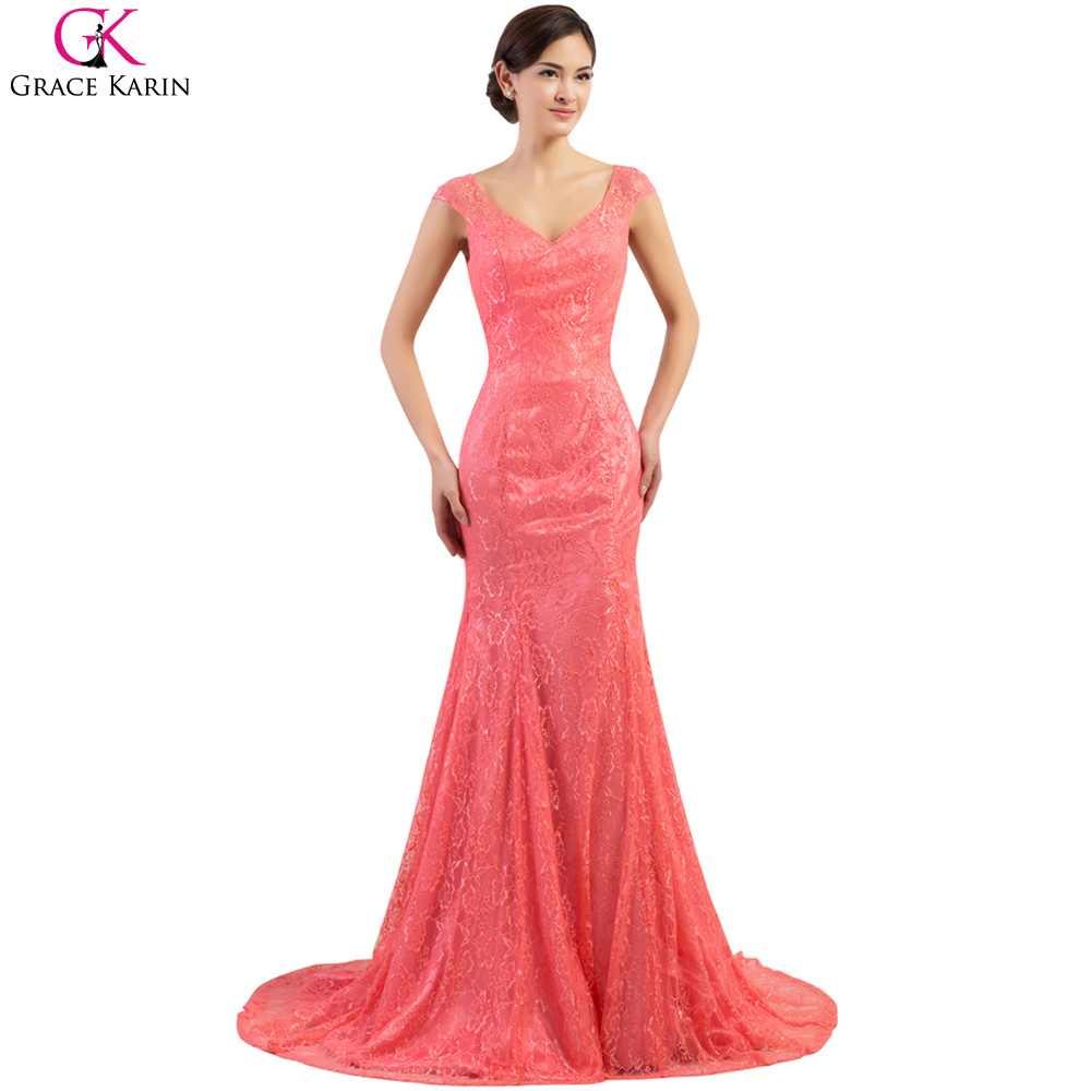 Long Evening Dresses Grace Karin Lace Sleeveless Backless Elegant Formal Gowns Dinner Robe De Soiree Mermaid Party Dress - Flagship Store store