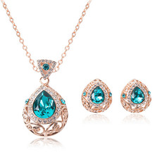 Angel tears Wedding Jewelry Set Costume collars Gold Plated pendants Necklace Earrings Sets women fashion jewellry
