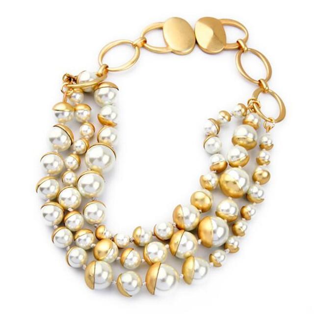 Роскошные нью-шик гипербола цвет меди жемчужина макси биб воротник ожерелье для женщин ...