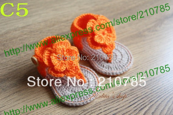 Crochet Baby Sandals, Baby Orange flowers Flip Flops, Crochet Baby Shoes, Sizes 0-12 Months Free Shipping 20pairs / lot(China (Mainland))
