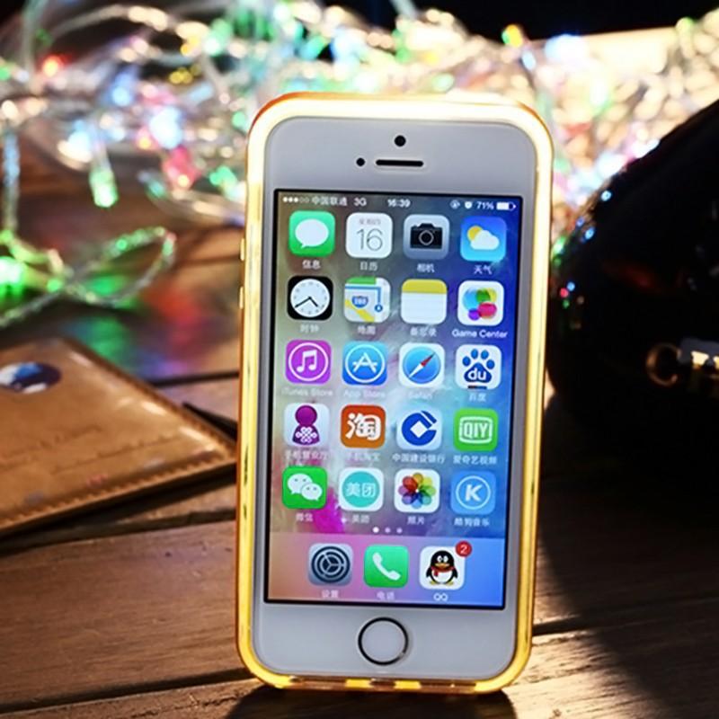 Transparent shine Lightn/ing flash glitter Luminous Sense LED Flash Light case cover for iPhone 6plus+Send stickers(China (Mainland))