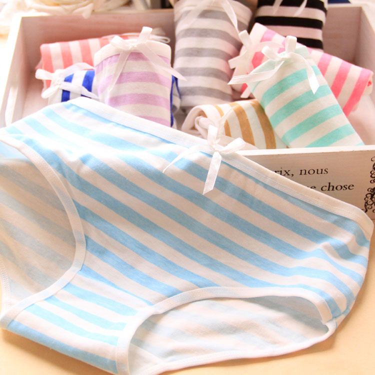 2015 High Quality Brand Summer Style Small Fresh Stripes Navy Bow Lovely Underwear Women Panties Cotton