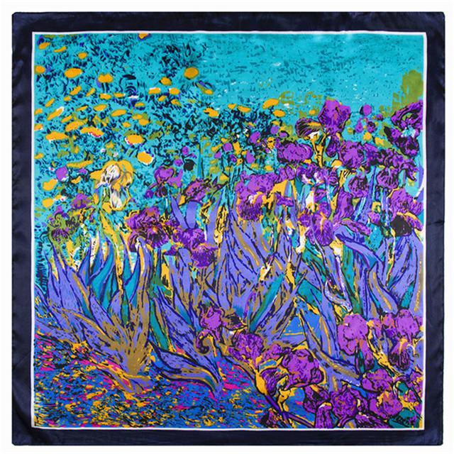 60 см * 60 см ворвались моделей в европе и америке звезды уличный стиль живописи тюльпан цветы леди малый шарфы