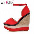 WETKISS Sexy Open toe Weave Patch Color Wedges Gladiator Sandals Women High Heels Platform Sandals Summer