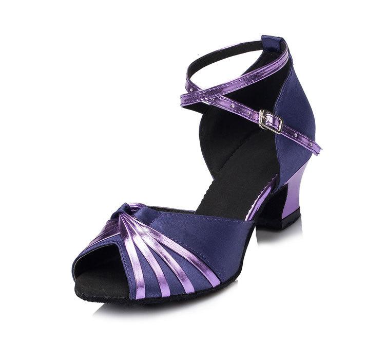 Adult women girls square ballroom Latin salsa peep toe dance shoes elegance purple black satin silver belts ankle strap(China (Mainland))
