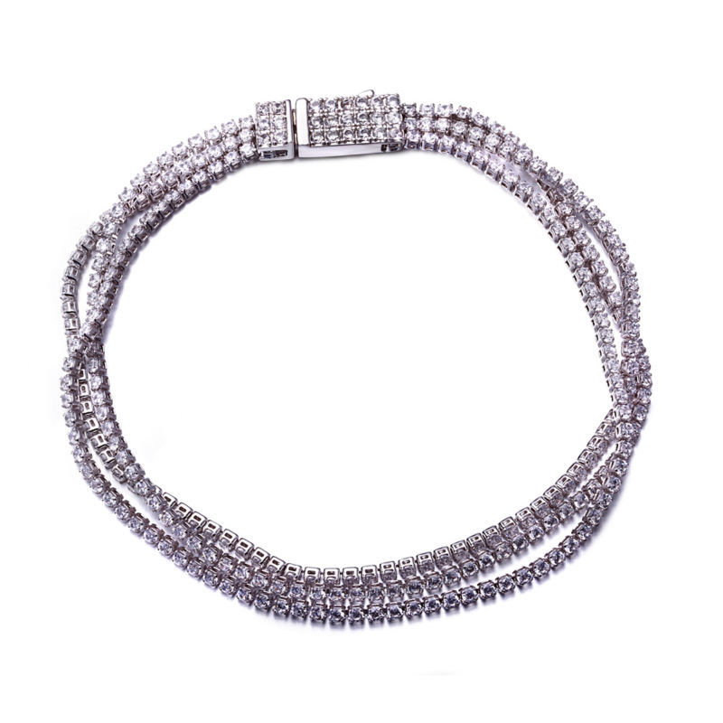 Women Secret New Trend Free Shipping Bracelet for Women Sweet Look three Link Bracelets 3 colors Cubic Zirconia Platinum Plating(China (Mainland))