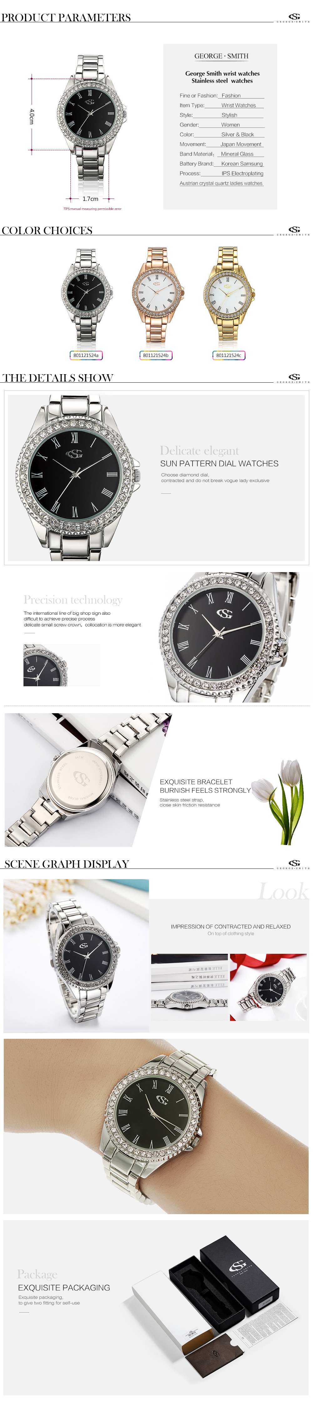 GS Brand Relogio Feminino Clock Female Stainless Steel Watch Ladies Fashion Casual Rhinestone Watch Quartz Wrist Women Watches