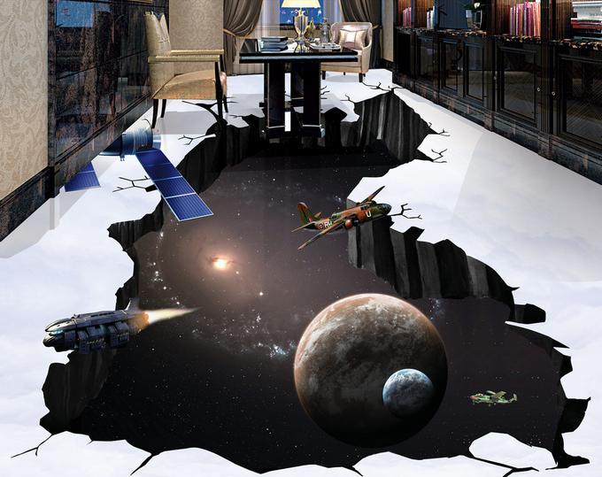 custom pvc vinyl 3d flooring wallpaper 3d stereoscopic Spaceship Earth bedroom Waterproof self adhesive 3d floor murals(China (Mainland))