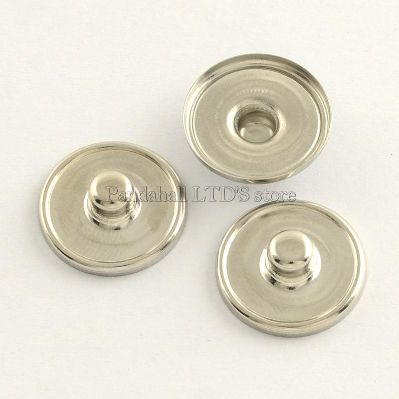 Brass Snap Buttons, Flat Round, Platinum, 18x6mm; knob: 5mm; Tray: 18mm<br><br>Aliexpress