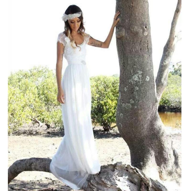 2014 fashion bohemian style beach wedding dresses short for Bohemian beach style wedding dresses