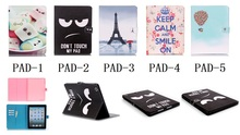 JJ-5D66 Fashion PU Leather Painted Wallet Flip Cover Case For Apple ipad mini 1/2/3 Phone Bag With 2 slots card Stand Holder(China (Mainland))