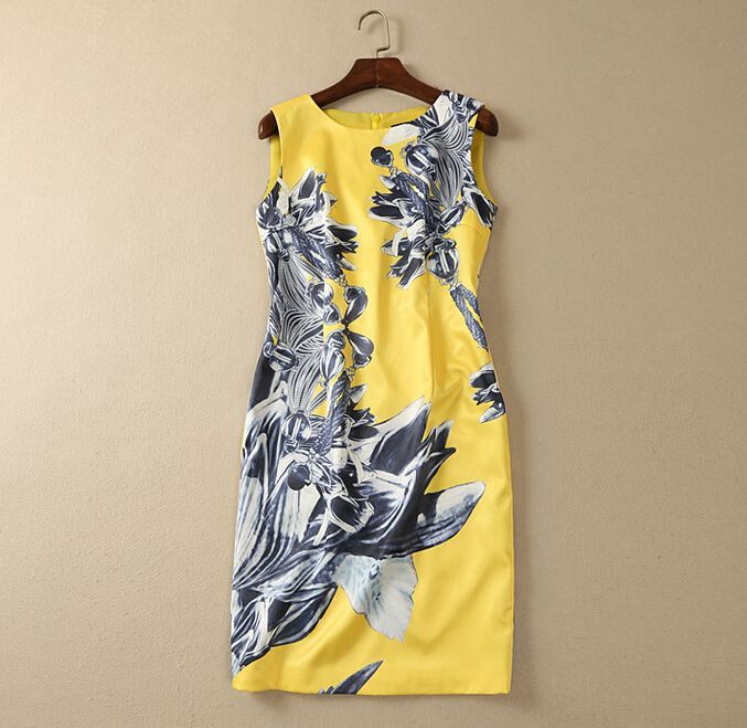 S-XXL 2015 high quality new summer fashion runway brand black and white print yellow color sleeveless one piece dress W6724(China (Mainland))
