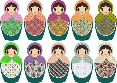 1set Lot Matryoshka Russian Dolls Paper Sticker Iron On