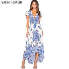 Buy YJSFG HOUSE Casual Vintage Women Floral Print Boho Beach Dress 2017 Summer V-neck Short Sleeve Irregular Evening Party Dress for $12.17 in AliExpress store