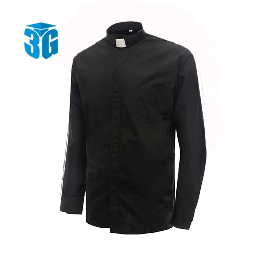 Black Clergy Shirt For Church Tab Collar Clergy Shirt In