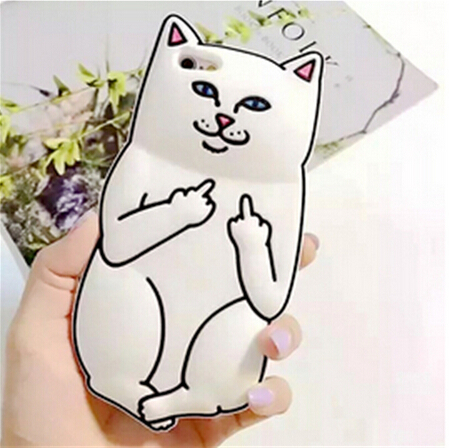 3D Cartoon Middle Finger Pocket Base White Kitty Cat Funda Case For iphone 5 5S 6 6S 6Plus Soft Silicon Phone Cases Capa Para(China (Mainland))