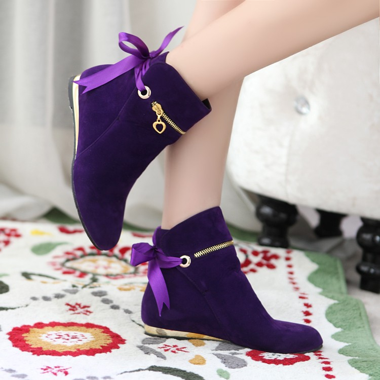 New style cute five colors 43 large size autumn winter boots suede bow shoes for women short round toe solid ankle boots<br><br>Aliexpress