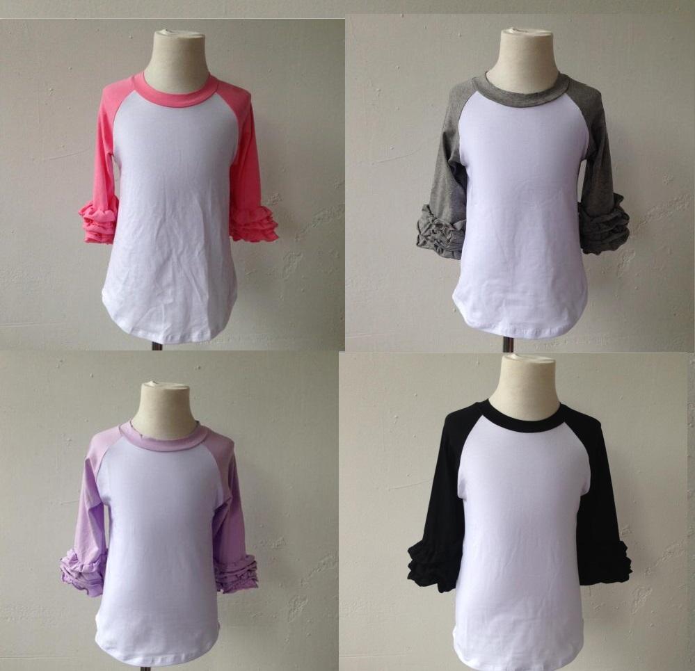 Wholesale raglan t shirt child double icing ruffle raglan for Wholesale children s t shirts