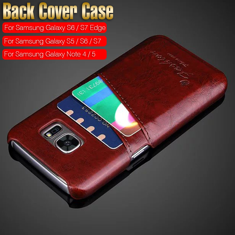 PU Leather Skin Back Hard Case Cover for Samsung Galaxy Note 5 4 S7/S6/S5/S7 Edge/S6 Edge Card Holder Vintage Style Phone Cases