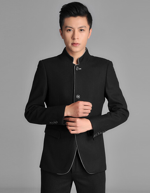 100% Good quality ( Jackets + pants ) 2014 New Men suits slim black Chinese tunic suit school uniform grooms wedding dressОдежда и ак�е��уары<br><br><br>Aliexpress