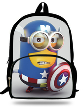 16-inch Cartoon Mochilas infantis Despicable Me Minions Bag School Boy 3D Printing Minions Backpack Children Girl Age 7-13(China (Mainland))