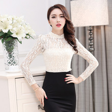 2016 New Fashion Autumn and Winter Women's Dress, Three Quarter Sleeve Ladies' Over Hip Hollow Out Lace Round Neck Dress