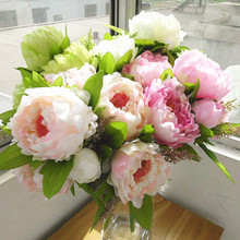 ( 7 peony flower heads) 2014 new 1 Bouquet Artificial Peony Silk Flowers with high quality (China (Mainland))