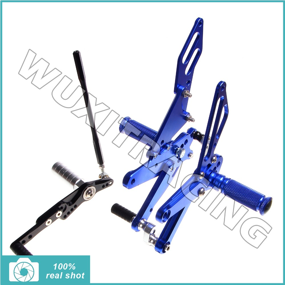 BLUE fit for Yamaha YZF R1 09 10 11 12 Rearsets Footpegs Foot Rests Rear Sets Adjustable Billet New CNC