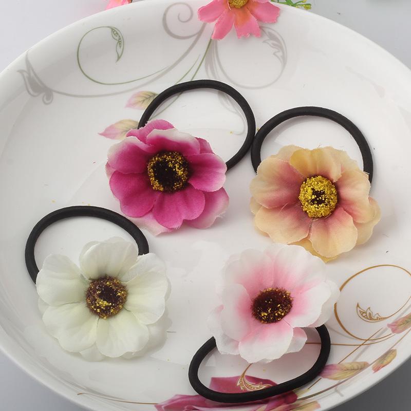 Beautiful Fabric Flower Rubber Headbands Gum Hair Summer Style Hair Accessories Hair Ring Women Elastic Hair Bands