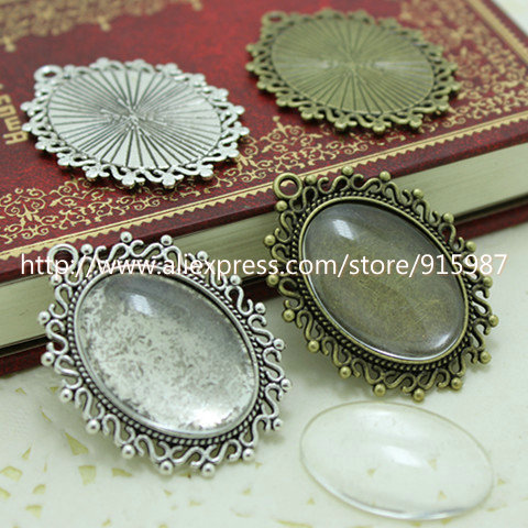 Wholesale  (10 set/lot) two color filigree cameo cabochon 18*25mm base setting pendant tray + clear glass cabochons D0111
