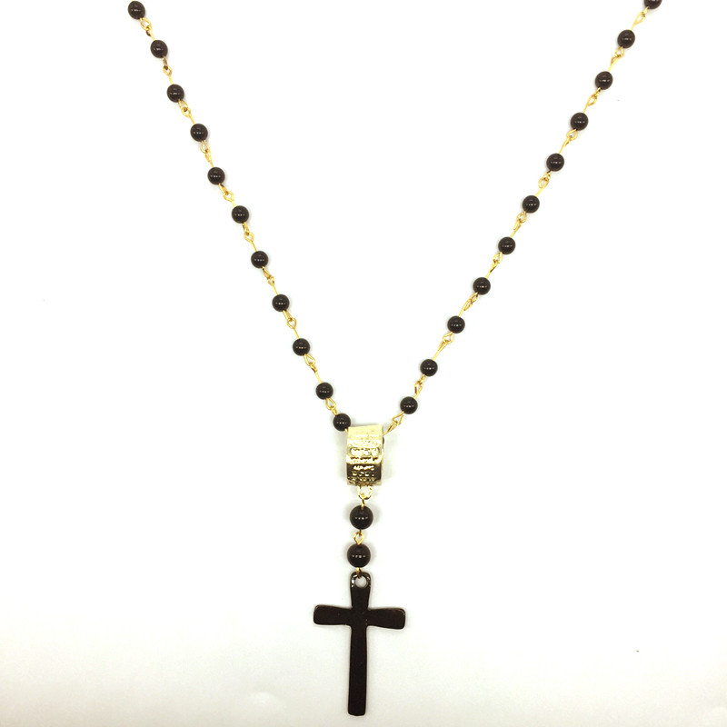 Rosary Cross Necklace Beaded Cheap Costume Jewelry Crucifix Necklace Long Collier Fille/Chapelet Avec Croix/Collana Con Pendente