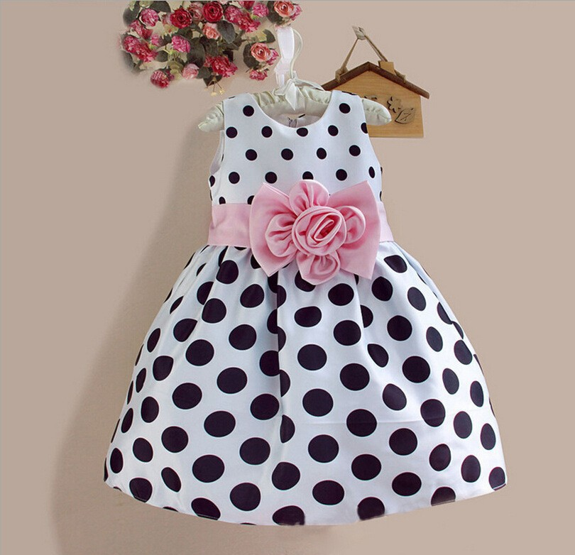 retail! 2015 new arrival Baby Girls Princess dress Sleeveless Polka Dot Plaid Party Fancy Dress girl's clothes(China (Mainland))
