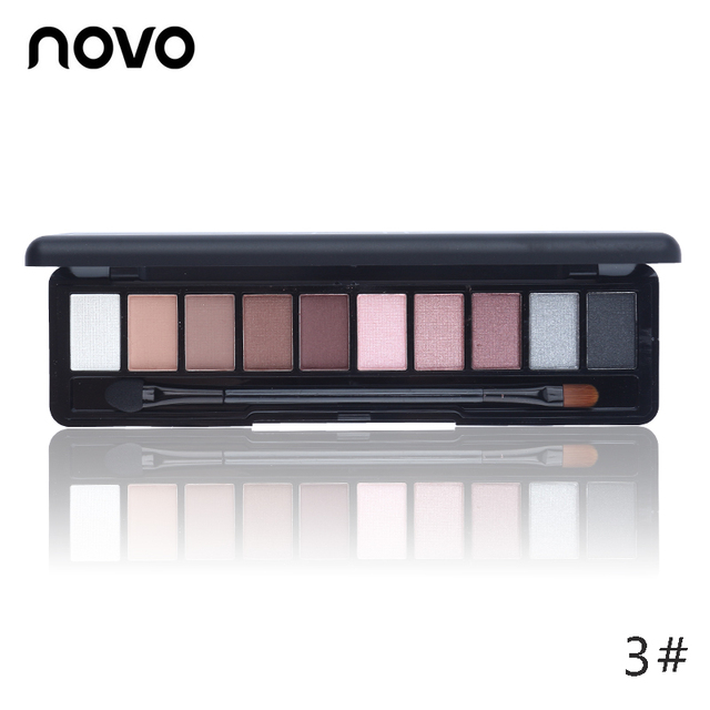 Shimmer Matte Natural Fashion Eye Shadow Make Up Light Eyeshadow Cosmetics Set With Brush 10 Colors NOVO Eye Makeup Palette 1PC